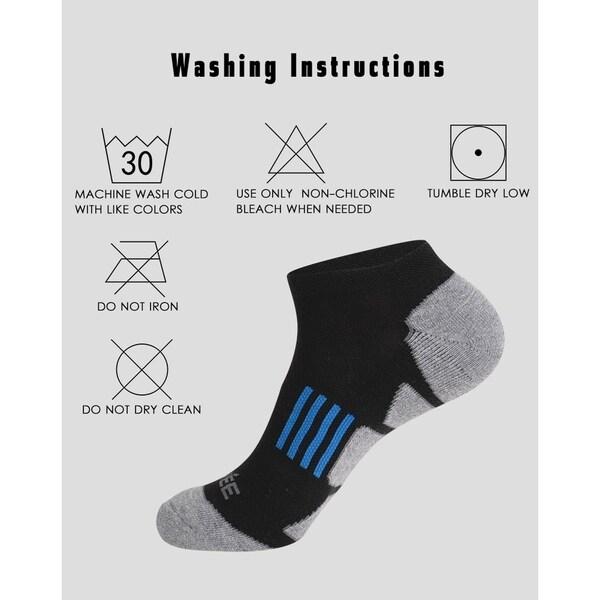 Kold Feet Mens Athletic 6-Pack Solid Cushion Crew Hiking Performance Running Socks