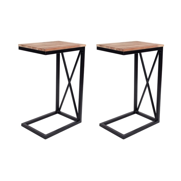 Decoriny Sofa Side End Table C Table in Acacia Wood ( Set of 2) for Study,Coffee with 2 pcs of Cotton Slub Throws