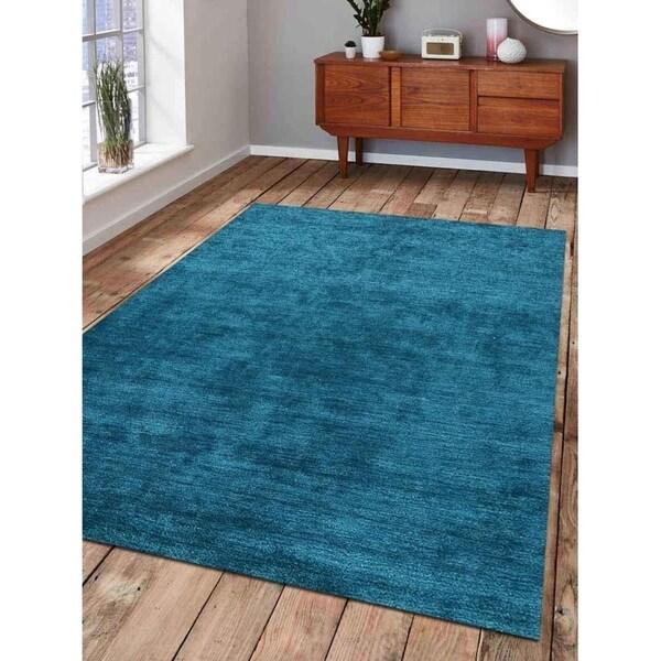 Indian Handmade Gabbeh Area Rug Oriental Modern Solid Color Carpet