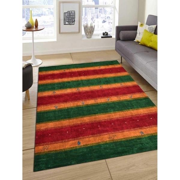 Contemporary Striped Handmade Gabbeh Carpet Indian Oriental Area Rug - 9' x 12'
