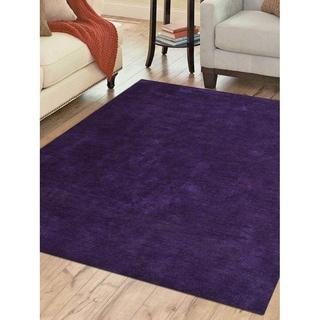 Modern Handmade Gabbeh Area Rug Solid Color Indian Oriental Carpet