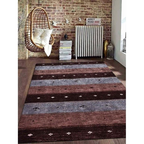Contemporary Striped Gabbeh Carpet Indian Oriental Handmade Area Rug - 6' x 9'