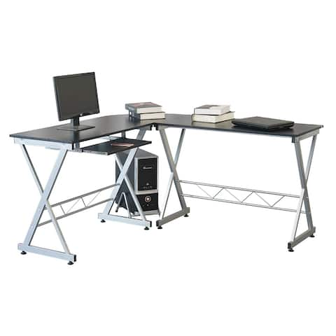 L Shape Computer Desk w/Keyboard Tray & CPU Stand-Corner Laptop