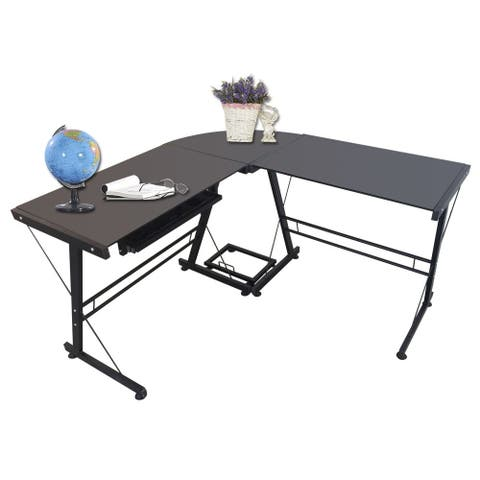 L Shape Tempered Glass Computer Desk w/Keyboard Tray & CPU Stand