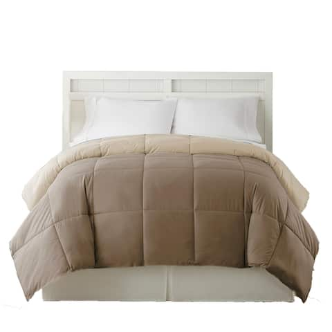 Genoa Twin Size Box Quilted Reversible Comforter The Urban Port, Brown and Gold