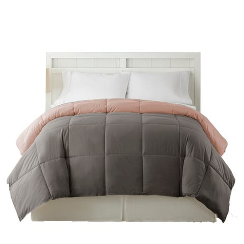 Genoa King Size Box Quilted Reversible Comforter The Urban Port, Gray and Pink