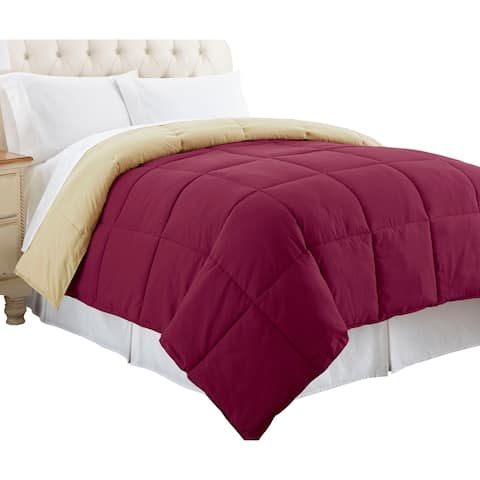 Genoa Twin Size Box Quilted Reversible Comforter The Urban Port, Pink and Beige
