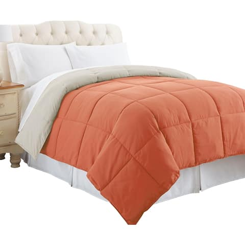 Genoa Twin Size Box Quilted Reversible Comforter The Urban Port, Orange and Gray
