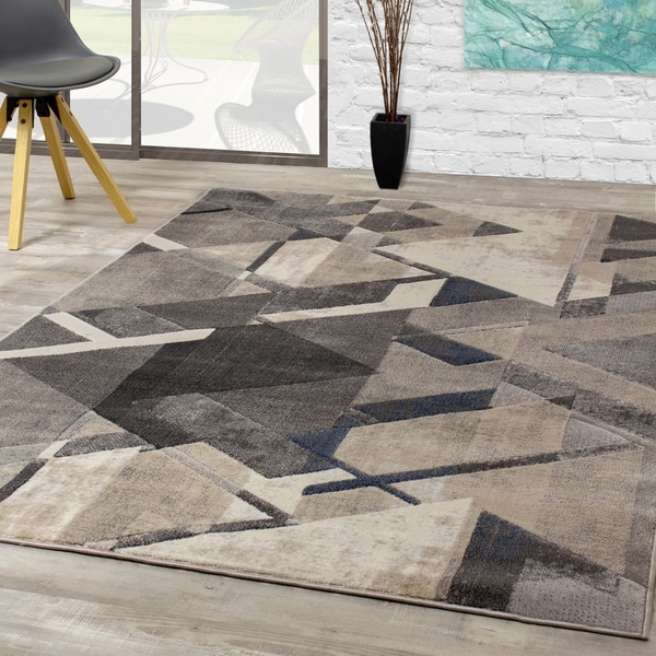 Abba Cream Grey Triangle Shift Rug