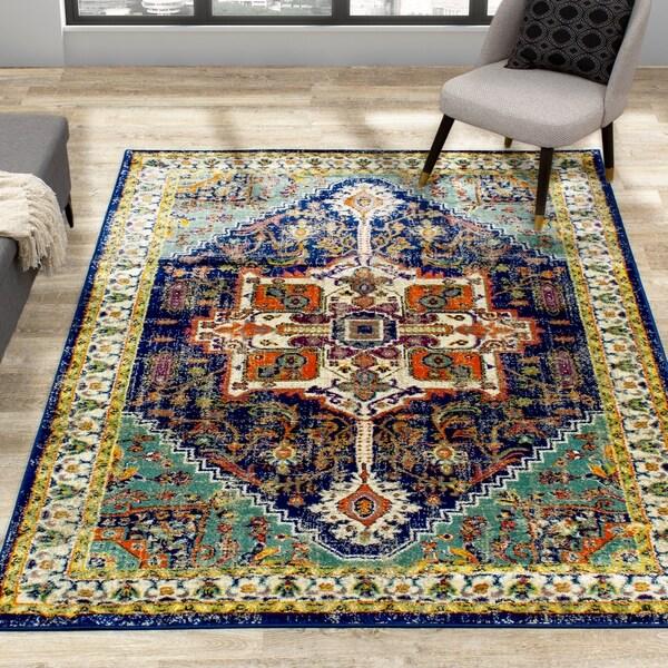 Brinley Blue Beige Multicolour Traditional Rug