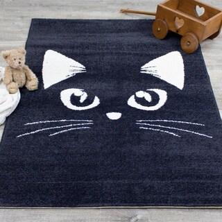 Novelle Kids Dark Grey Cream Cat Peeking Rug