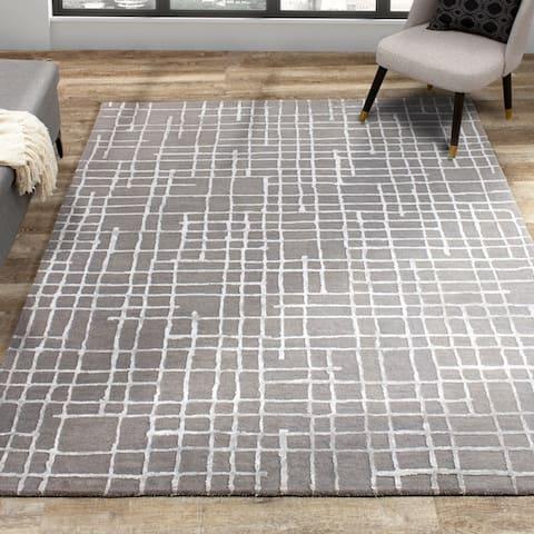 Atlantis Grey Handtufted Grid Rug