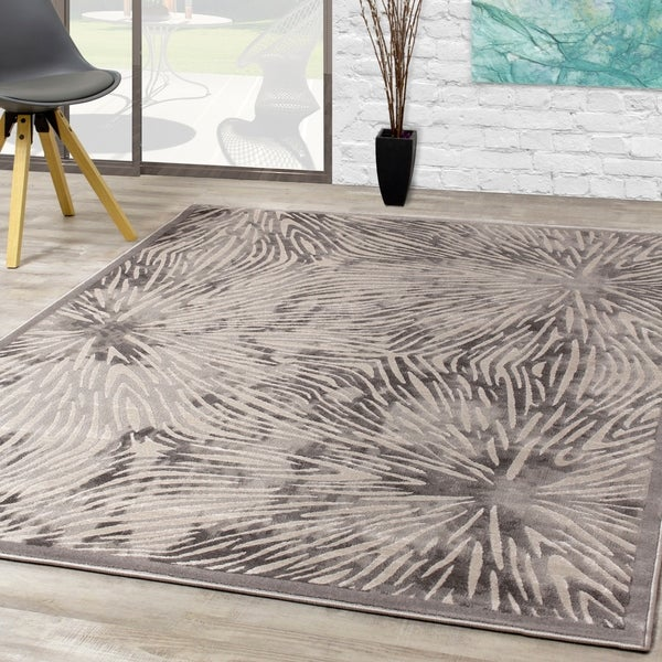 Juneau Grey White Connected Nodes Rug