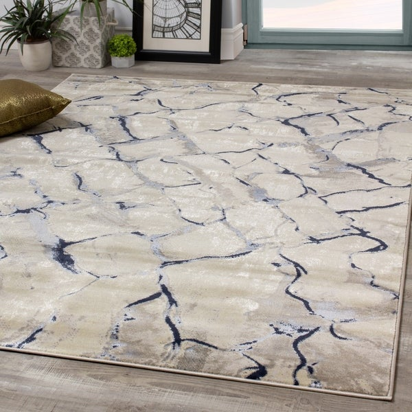 Anchor Grey White Distressed Cobblestone Rug