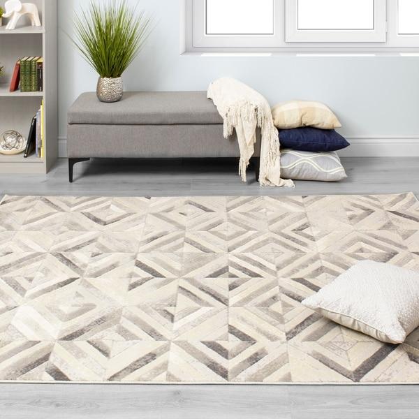 Anchor Grey White Shimmer Tiles Rug