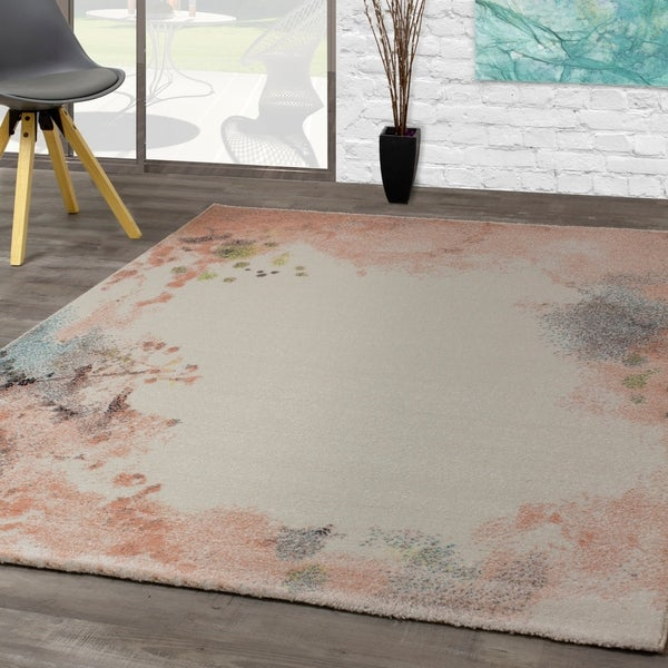 Dawn Cream Pink Distressed Outline Rug