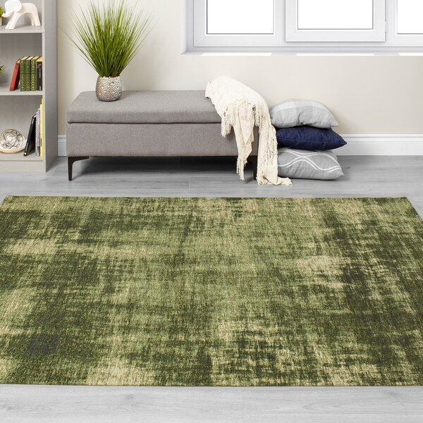 Broadway Green Distressed Hatching Rug