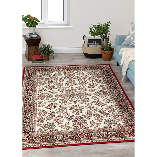 """Fona Cream Red Fine Detail Traditional Rug - 5'3"""" x 7'4"""""""