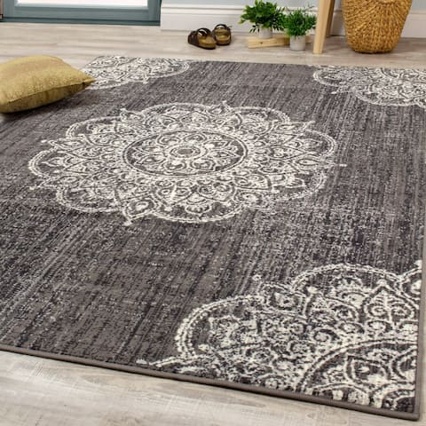 Fiona Grey Cream Medallion Rug