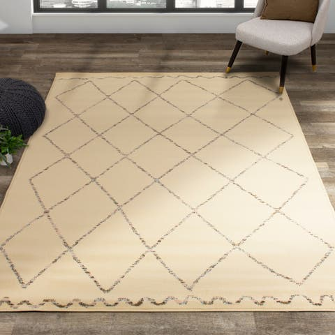 Fona Cream Beige Quirky Trellis Rug