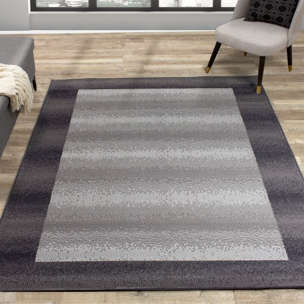 Fona Grey Dark Border Distressed Rug