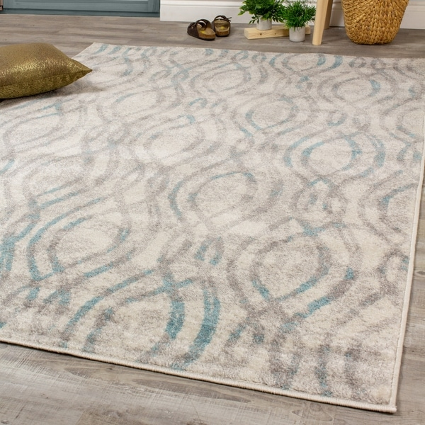 Logic Grey Blue Convoluted Curved Lines Rug