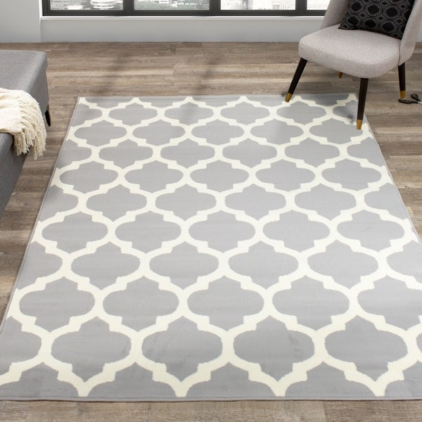Fona Grey White Classy Ogee Pattern Rug. Opens flyout.