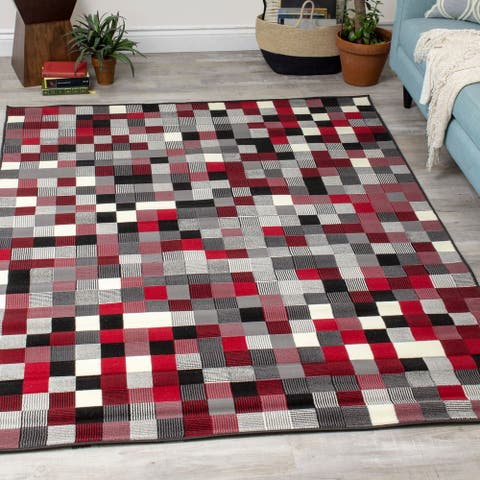 Fona Red Grey Tiny Blocks Rug