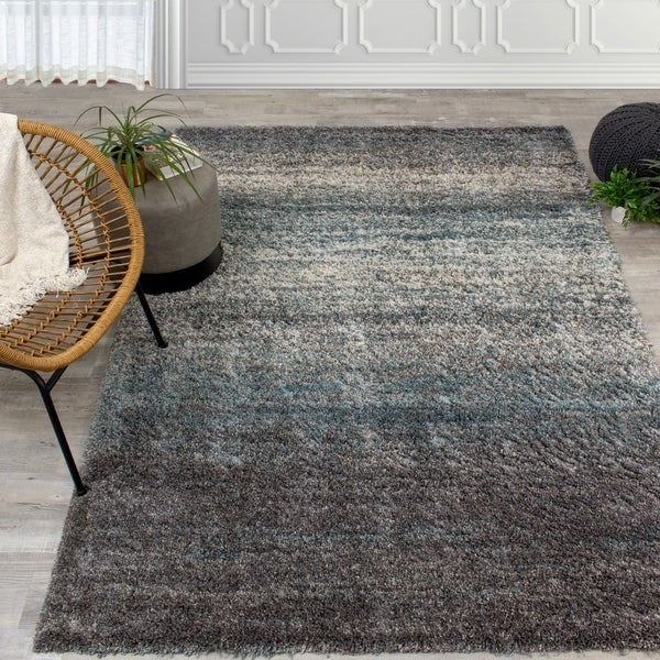 Melbourne Grey/Blue Distressed Stripes Soft Touch Rug