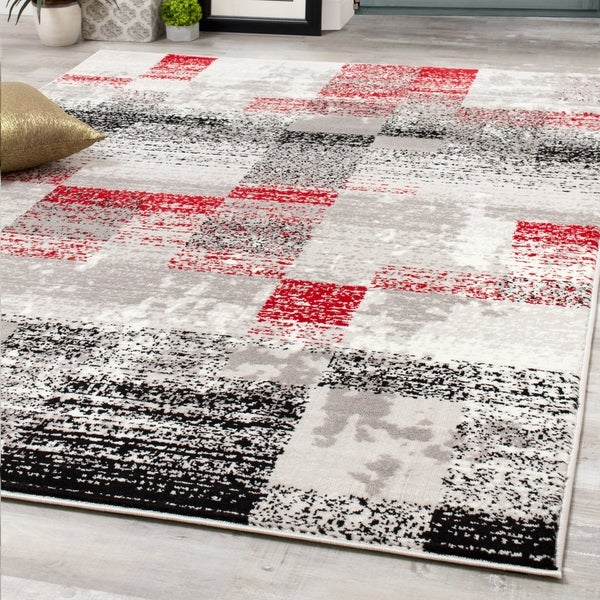 Mirrol Red Distressed Rectangles Rug