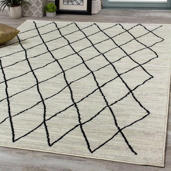Mirrol Pen-Drawn Trellis Lines Rug