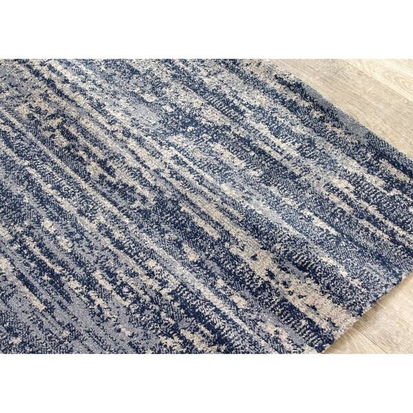 Mira Blue Grey Banded Microfibre Rug