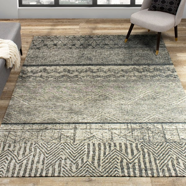 Taipei Grey Pattern Banded Rug