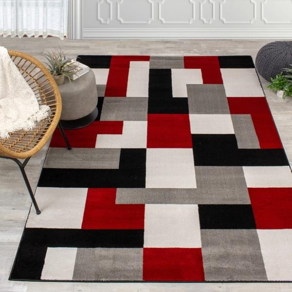 Palladium Red/Black/Grey Blocks Rug
