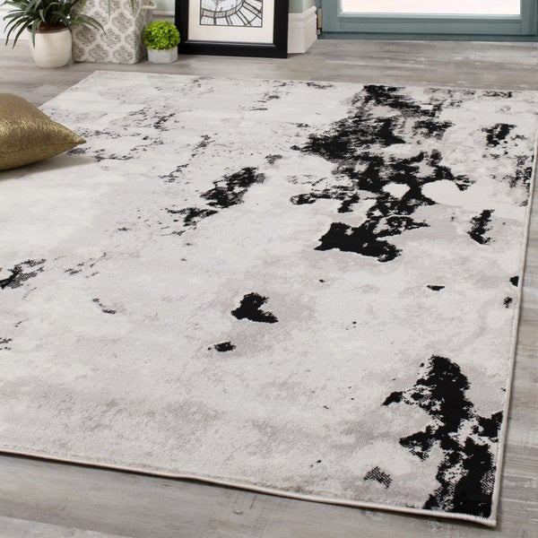 Mirrol Grey Pebbles Distressed Rug