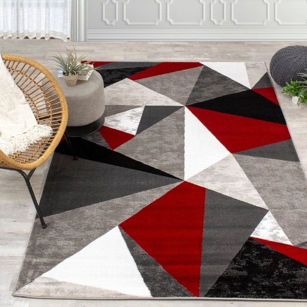 Palladium Red/Grey/Black Triangles Rug