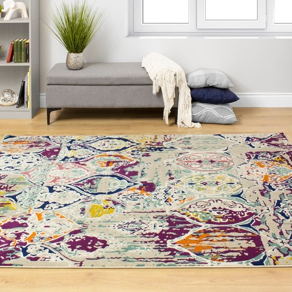 Trona Colourful Distressed Ornamental Pattern Rug