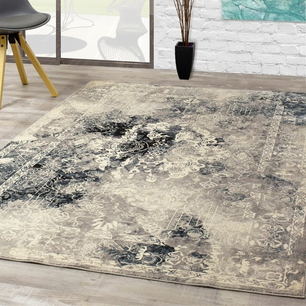 Salma Blue Grey Chic Transitional Soft Touch Rug