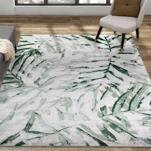 Vintage Grey Green Overlaid Palm Fronds Rug