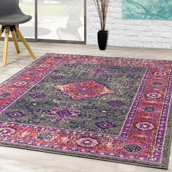 Sander Pink Grey Fashion Border Rug