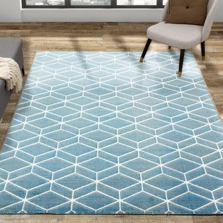 Salon Blue Cream Tesselation Rug
