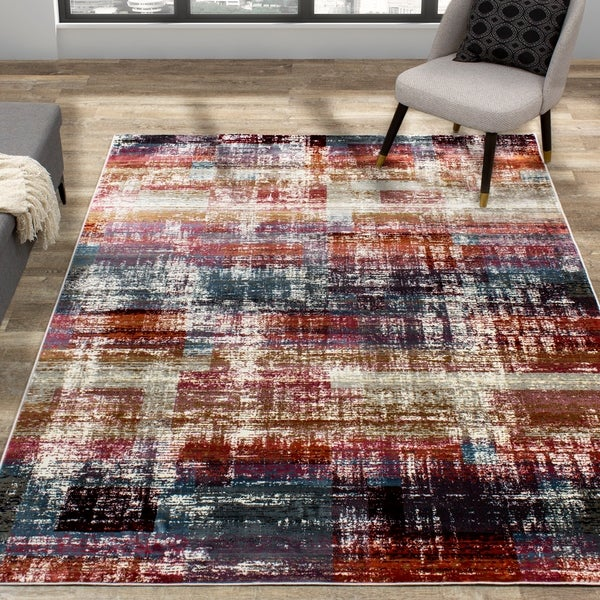 Salma Beige Red Multi Distressed Soft Touch Rug