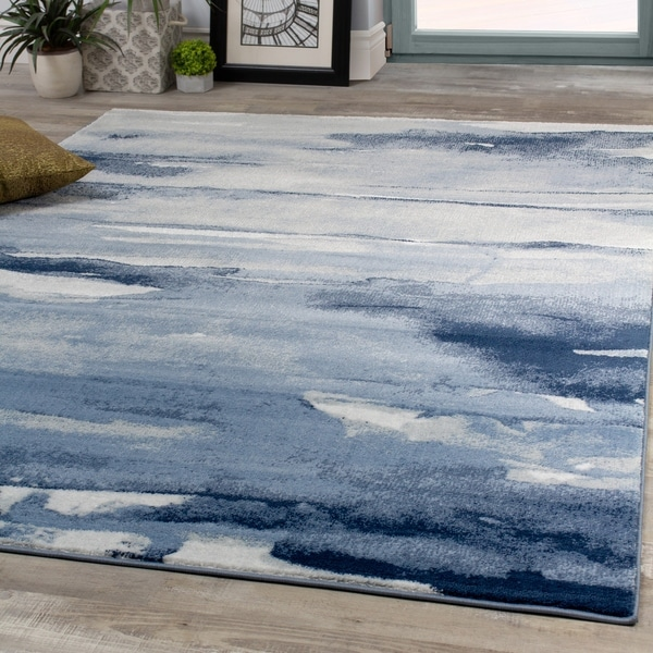 Palladium Blue Cream Oil Painting Abstract Rug