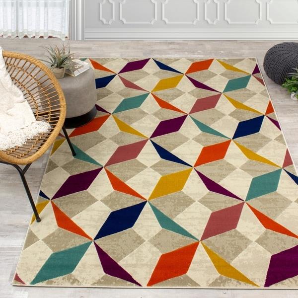 Trona Grey Orange Diamond Checkerboard Rug