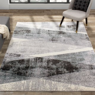 Midtown Grey White Teal Back and Forth Rug