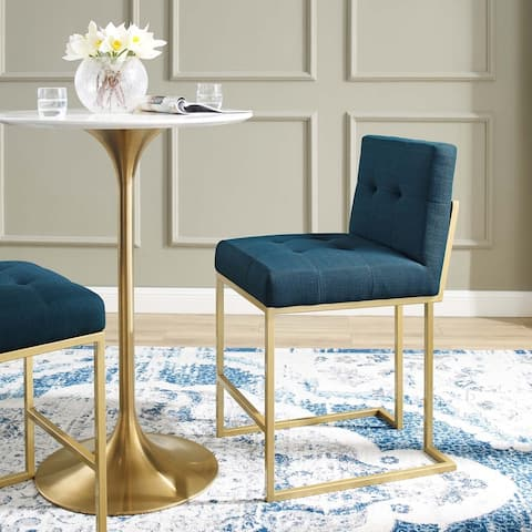 Silver Orchid Brissac Gold Stainless Steel Upholstered Fabric Counter Stool