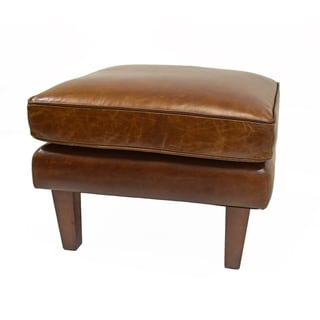 Link to Strick & Bolton Prue Brown Leather Ottoman Similar Items in Living Room Furniture