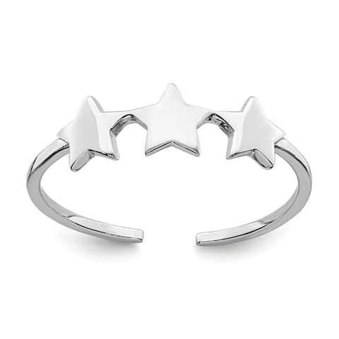 Versil Sterling Silver Rhodium -plated Stars Adjustable Ring