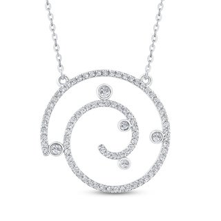 10K White Gold 5 8ct TDW Diamond Swirl Circle Pendant G H I2