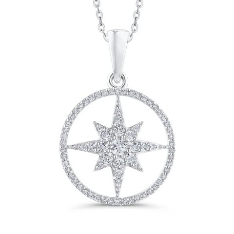 10K White Gold 1/2ct TDW Diamond Star in Circle Pendant (G-H, I2)